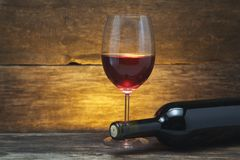 Art wine glass on the table Royalty Free Stock Images