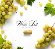 Art wine list background; sweet white grapes and leaf royalty free stock photos