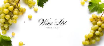 Art wine list background; sweet white grapes and leaf royalty free stock image
