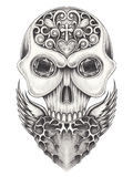 Art wings heart mix skull. Stock Photography