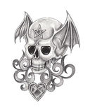 Art wings skull tattoo. Stock Images
