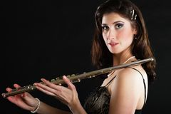 Art. Woman flutist flautist with flute. Music. Royalty Free Stock Photography