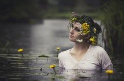 Art Woman met kroon op haar hoofd in een moeras in het hout Nat w stock afbeeldingen