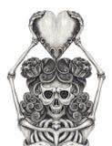 Art Women Skull tiene il tatuaggio del cuore royalty illustrazione gratis