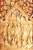 Art of wood carving on door temple Royalty Free Stock Photos