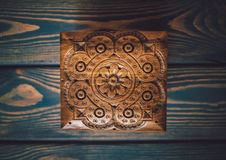 Art of wood carving. Slavic folk style Stock Photos