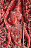 The art for wood carving of thai belief. In temple ,Thailand Stock Photos