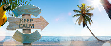 Art wood sign on beach Royalty Free Stock Photo