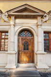 Art wooden doors, sculptural facade Stock Image