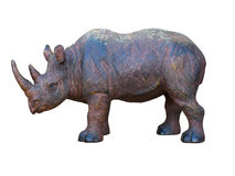 Art wooden hand made rhinoceros isolated Stock Images