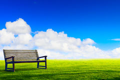 Art wooden park bench at a park Royalty Free Stock Photos