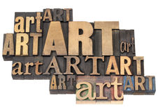 Art word abstract in wood type. Art word abstract - isolated text in a variety of vintage letterpress wood type printing blocks Stock Images