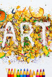 ART word on the background of colored shavings Royalty Free Stock Photos