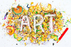 ART word on the background of pencil shavings Stock Photo