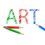 Art word drawn with pencils. Art word drawn with  green, red and blue pencils. Illustration on white background Stock Image