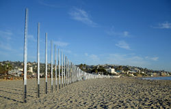 Art work called 1/4 Mile Arc on Main Beach of Laguna Beach. California. Stock Image