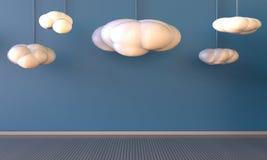 Art Work Display et nuages sur le fond bleu Photo stock