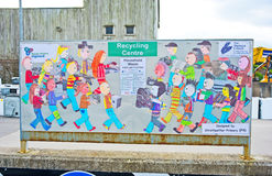 Art work in Highland recycling Centre. An image of art work by children of Srathpeffer Primary School whose message is to encourage recycling and conservation Stock Image