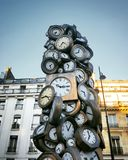 The clock, Art work at the court of Saint Lazare train station in Paris. Art work train station paris clock court saint lazare stock photos