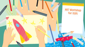 Art workshop for kids. Kids craft drawing and painting - education and enjoyment concept Stock Image