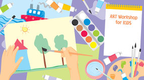 Art workshop for kids. Kids craft painting - education and enjoyment concept Stock Images