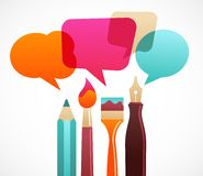 Art and writing tools with speech bubles. On the abstract background Stock Images