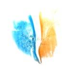 Art Yellow, goutte bleu-foncé de peinture d'encre d'aquarelle Image stock