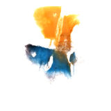 Art Yellow, negro, gota azul de la pintura de la tinta de la acuarela Imagen de archivo libre de regalías