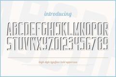 Artalphabetbuchstaben und -zahlen des Effektes 3d vektor abbildung