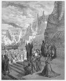 Artaxerxes grants freedom to the Jews stock illustration