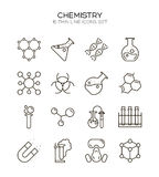 20_ARTBOARDS. Chemistry icon set. Collection of science silhouette icons. 16 high quality logo of laboratory on white background. Pack of symbols for design Royalty Free Stock Photos