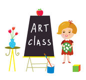 Artclass card with child and board for kindergarten Royalty Free Stock Image
