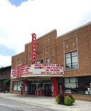 Artcraft Theatre. This is a Summer picture of the historic Artcraft Theatre located in downtown Franklin, Indiana.  The theatre is an example of Art Deco Royalty Free Stock Photos