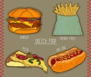 4 artículos de los alimentos de preparación rápida para el menú de los restaurantes Ilustración drenada mano Vector Imagen de archivo