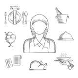 Artículos dibujados mano de la camarera y del restaurante Imágenes de archivo libres de regalías