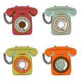 Artículos retros del teléfono fijados en blanco Imagen de archivo libre de regalías