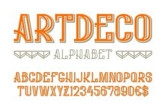 Artdeco alphabet with numbers and currency signs.  vector illustration