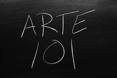Arte 101 σε έναν πίνακα Μετάφραση: Αρθ. 101 Στοκ Φωτογραφία