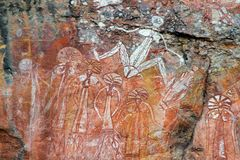 Arte aborígene da rocha foto de stock royalty free