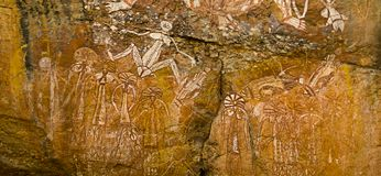Arte aborigen de la roca Imagen de archivo