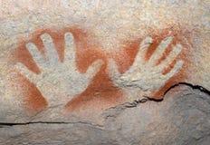 Arte aborigena - particolare della mano Fotografie Stock Libere da Diritti