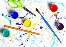 Arte abstracto de la brocha y de la pintura del aguazo Imagen de archivo libre de regalías