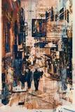 Arte abstracto de la gente que camina en el callejón libre illustration