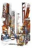 Arte abstracto del paisaje urbano Fotos de archivo