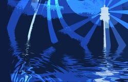 Arte abstracto, faro y océano ilustración del vector