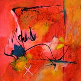 Arte abstracto moderno - pintura - caligrafía/pintada roja y negra Foto de archivo libre de regalías