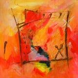Arte abstracto moderno - pintura - colores rojos y anaranjados de la caligrafía/de la pintada - Imagen de archivo