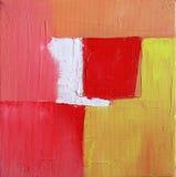 Arte abstracto moderno - pintura - fondo rojo y amarillo Fotografía de archivo