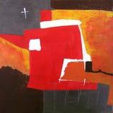 Arte abstracto moderno - pintura - fondo rojo y negro Fotos de archivo