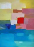 Arte abstracto moderno - pintura - paisaje stock de ilustración